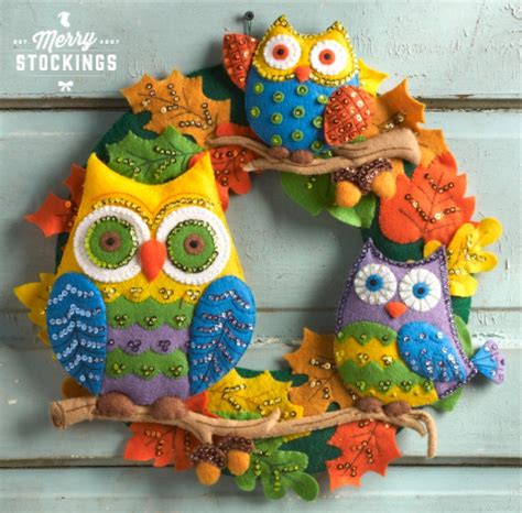 felt applique kits owl s harvest bucilla felt applique wreath kit