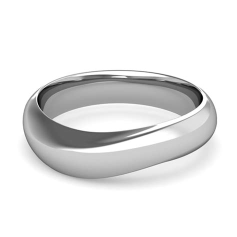 curved wedding band in 18k gold mens comfort fit ring 6mm