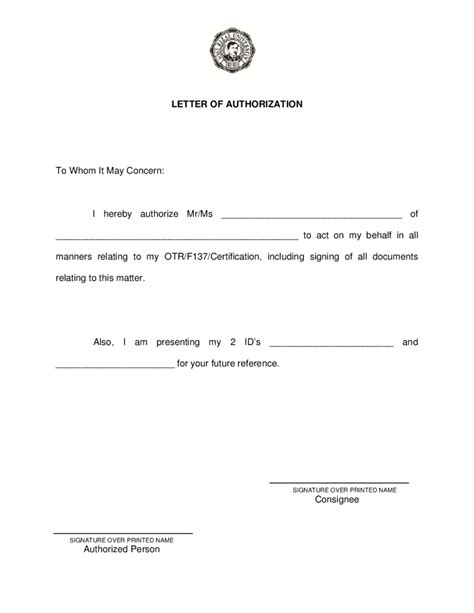 Bank Proxy Letter Authorization Letter Free Authorization Letter Sle