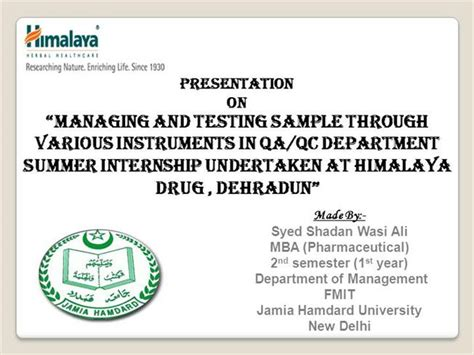 Mba Summer Internship Presentation Ppt by Himalaya Project Presentation Authorstream