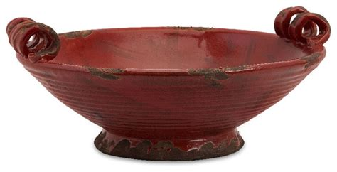 Imax Garnet Oval Red Maroon Antique Rustic Bowl Ceramic & Reviews Houzz
