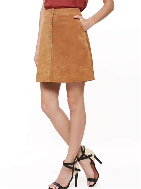 buy warehouse genuine suede a line skirt for