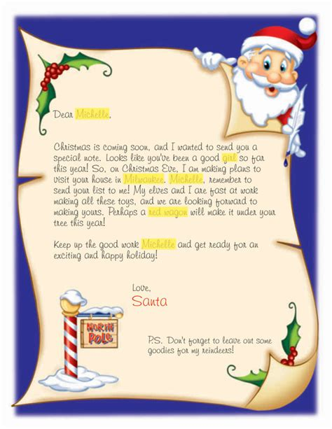 personalized letter from santa claus printable search results for customizable letters from santa