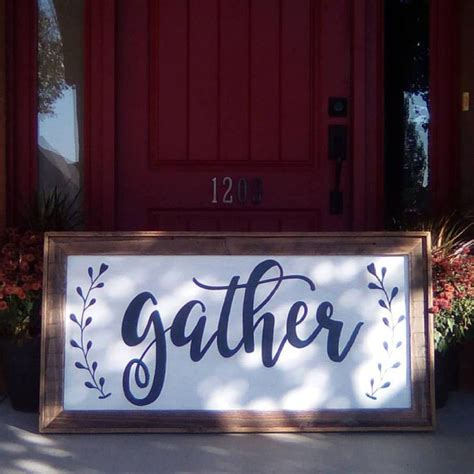 hand painted wood signs home decor extra large gather sign hand painted rustic wood sign
