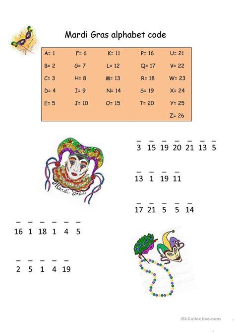Mardi Gras Worksheets by Mardi Gras Alphabet Code Worksheet Free Esl Printable