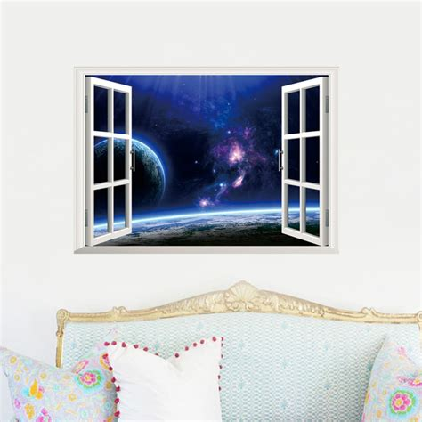 home decor stickers wall 2015 creative outer space earth 3d window wall decal