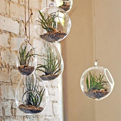 2018 transparent hanging glass flower plant vase candle