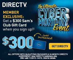 Directv Gift Card Offers - sam s club today only epic cyber monday savings milled