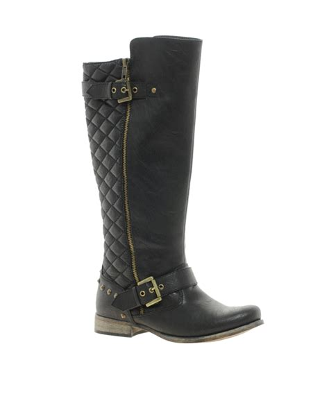 river island boots for river island quilted biker boots in black lyst