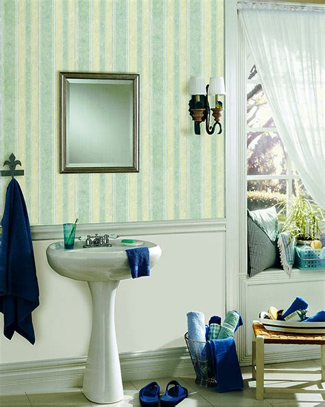 striped wallpaper bathroom blue striped bathroom wallpaper brewster home