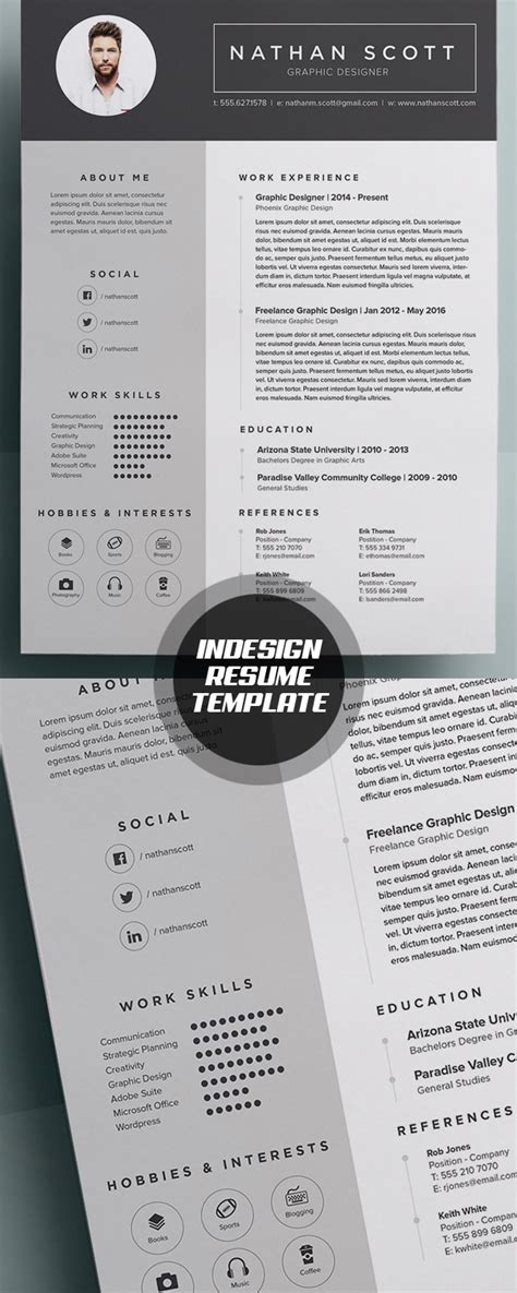 resume layout indesign new modern cv resume templates with cover letter