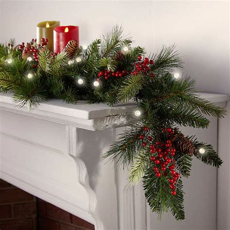 cordless pre lit cone berry christmas garland ebay