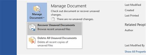 Recover Unsaved Word Document 2013