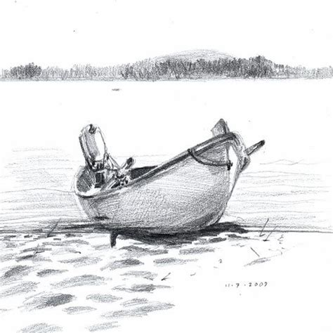 how to draw a boat on shore pencil drawing of the beach www pixshark images