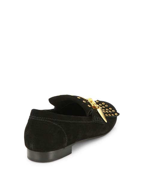 black loafers with gold studs lyst giuseppe zanotti gold chain studded loafers in