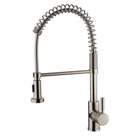 Yosemite Home Decor Single Handle Spring Pull Out Sprayer Kitchen Faucet Brushed Nickel