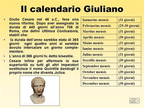 Calendario Giuliano Il Tempo Nella Storia I Calendari Nel Mondo Ppt