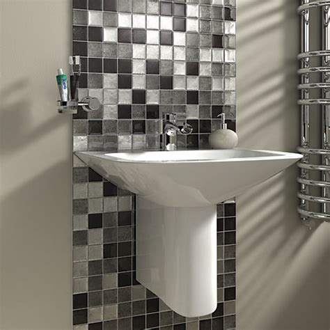 wickes tiles bathroom wickes black silver leaf motif gloss glass mosaic tile