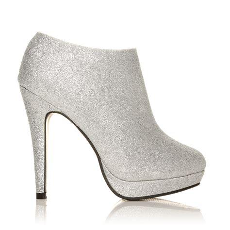Boots E Glitter Putih New h20 silver glitter stilleto high heel ankle shoe