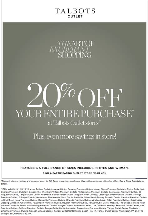 printable coupons talbots outlet talbots outlet 20 off printable coupon