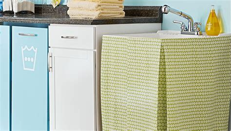 Basement Utility Sink Skirt D Utility Sink With A Fabric Skirt I Really Like The
