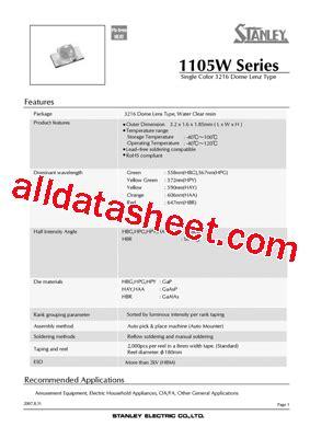 pdt stanley hay1105w datasheet pdf stanley electric co ltd