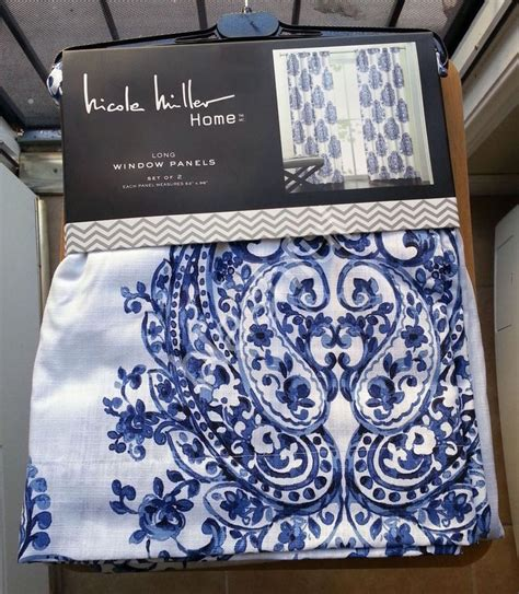 nicole miller curtains nicole miller watercolor blue medallion damask 2 window