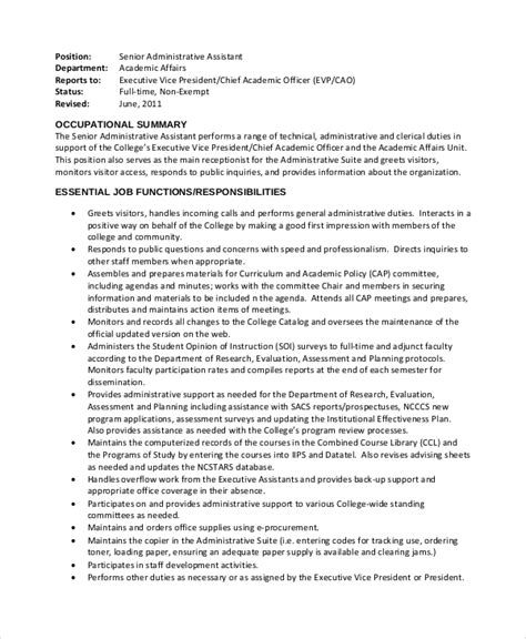 sle administrative assistant description 8 exles in pdf word
