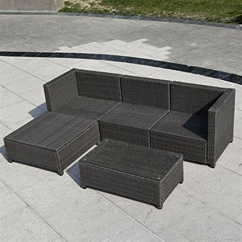 wicker couch set 5pc outdoor patio sofa set sectional furniture pe wicker