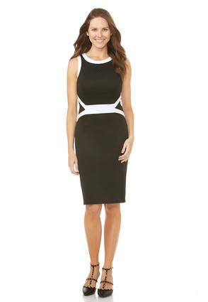 Sheath Contrast Trim Dress contrast trim sheath dress dresses cato fashions