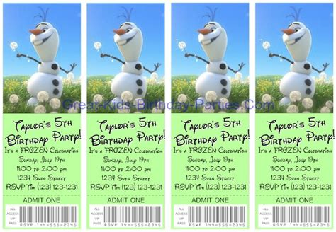 printable olaf birthday invitations frozen party