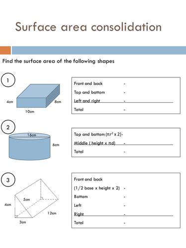 Surface Area Worksheets by Surface Area Worksheets By Holyheadschool Teaching