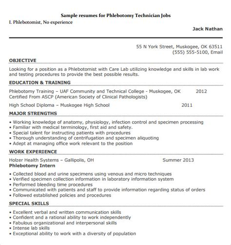 28 phlebotomy resume objective phlebotomist resume sle free resume downloads pin exle resume
