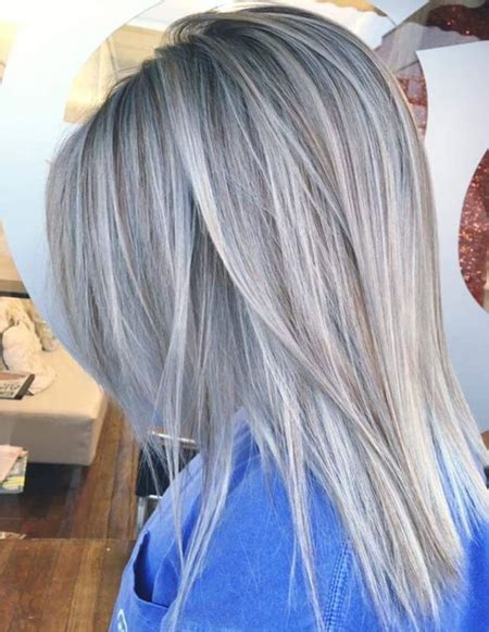 glamorous styles for medium grey hair silver grey hair color ideas for straight hairstyles 2018