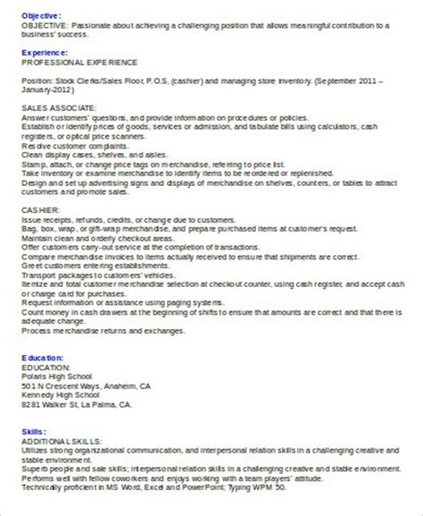 cashier resume sle 8 exles in word pdf