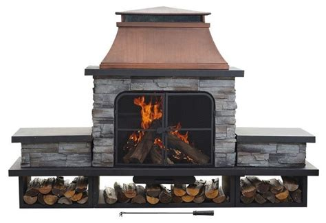sunjoy outdoor pits seneca 24 in wood burning outdoor fireplace contemporary pits