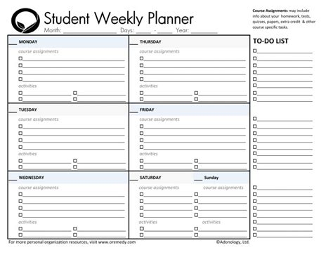 free printable weekly assignment calendar day planner printable student planners student daily