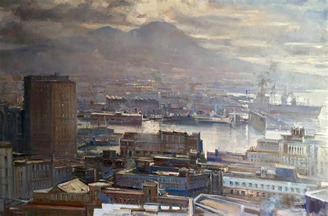 porto napoli tv napoli mattino sul porto painting by vincenzo aprile