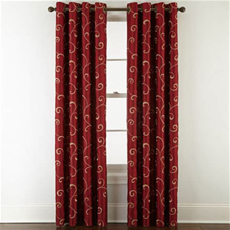 jcpenney red curtains royal velvet 174 plaza embroidery blackout grommet top