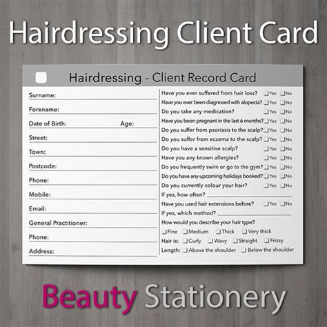 Client Card Template Hair Salon by Hairdressing Client Record Card Treatment Consultation