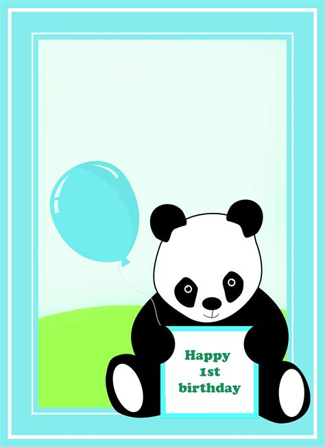 Panda Birthday Card Template by Printable 1st Birthday Cards Birthday Ideas For