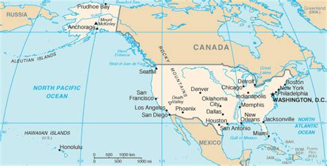 map usa canada hawaii geography for united states