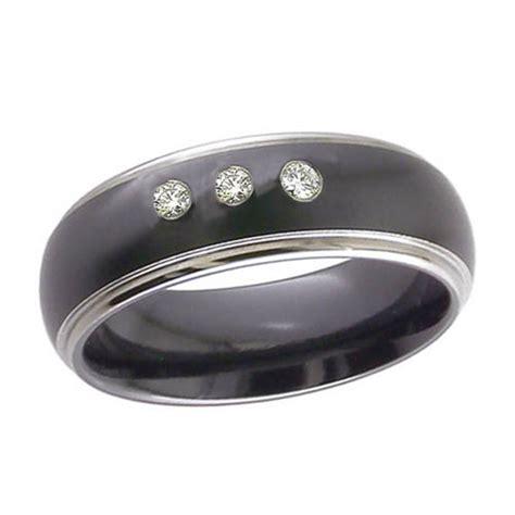 black zirconium wedding ring black zirconium wedding ring with three diamonds
