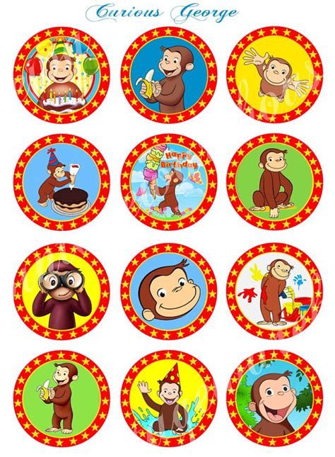 printable event stickers curious george craft circles instant download printable