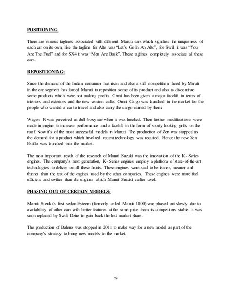 Project On Maruti Suzuki Project On Marketing Strategy Of Maruti Suzuki