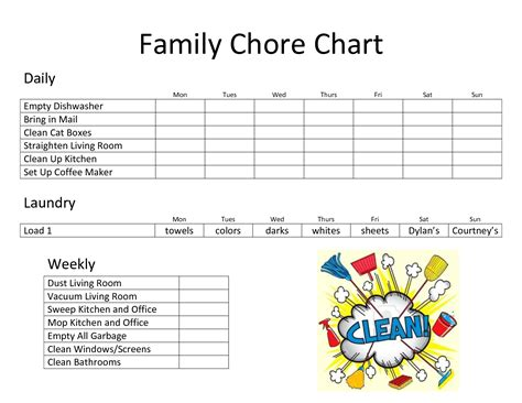 household roster template daily family chore chart template chore charts