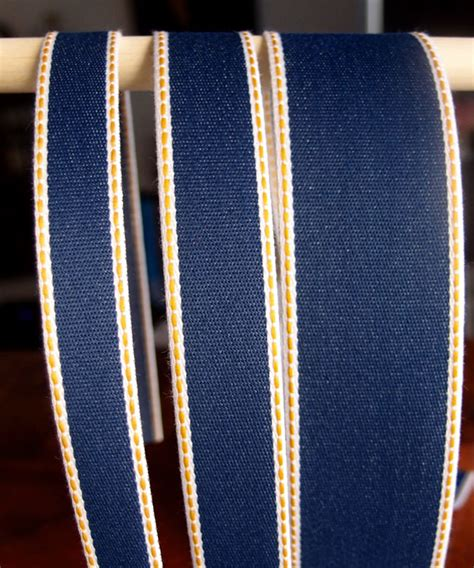 Denim Ribbon denim ribbon with gold stitching
