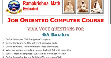 Mba Viva Questions by Oriented Computer Course