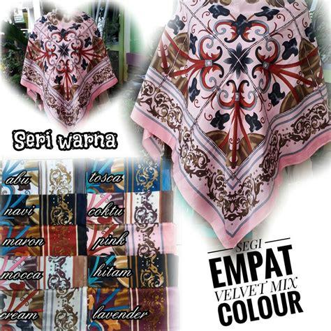Segiempat Saten Velvet segiempat velvet mix colour sentral grosir jilbab