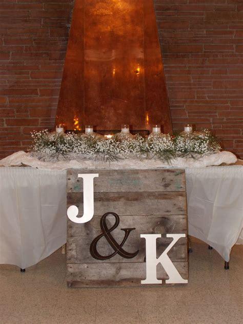 Rustic wedding sweetheart table   Double Take Designs
